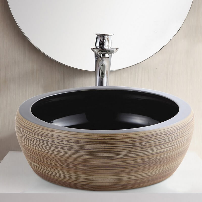 vasque poser c ramique rainur e tierra vasque noire rue du bain. Black Bedroom Furniture Sets. Home Design Ideas