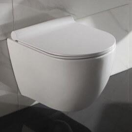 WC Suspendu Ovale - Céramique Blanc - Avec Abattant - Sans Bride - 49x36 cm - Cort