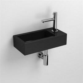 Lave main Rectangulaire Droite - Céramique Noire - 45x25 cm - Studio | Rue du Bain