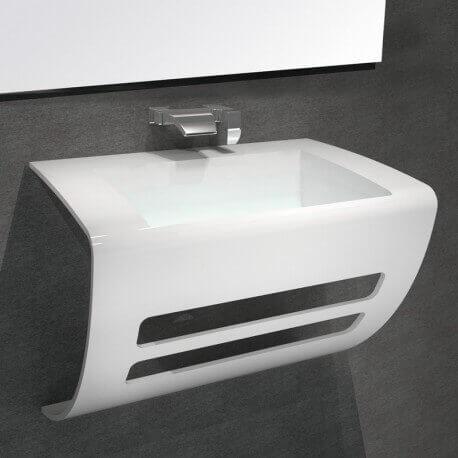Lavabo Suspendu Design - Solid Surface Blanc Mat - 60x38 cm- Elegance