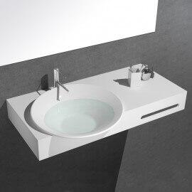 Lavabo Suspendu avec Porte Serviette- Solid Surface Blanc Mat - 100x56 cm - Plume