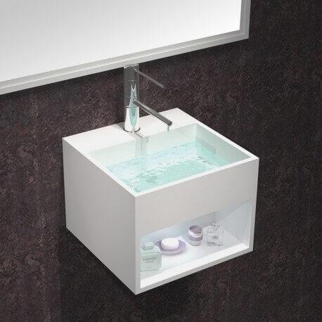Lave Main Carré - Solid Surface Blanc Mat - 33x33 cm - Enjoy | Rue du Bain