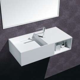 Lavabo Suspendu Rectangulaire - Composite Blanc Mat - 80x40 cm - Composed | Rue du Bain