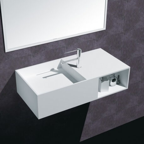 Lavabo Suspendu Rectangulaire - Composite Blanc Mat - 80x40 cm - Composed
