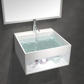Lavabo Suspendu Carré - Solid Surface Blanc Mat - 50x50 cm - AllDay