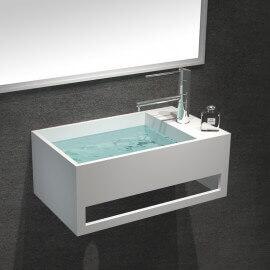 Lave Main avec porte serviette - Composite Blanc Mat - 50x30 cm - Wishes