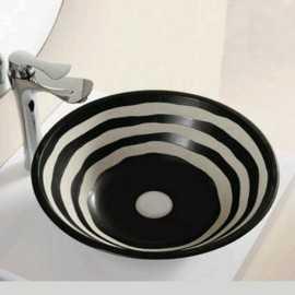 Vasque à Poser Ronde - Céramique Noire et Blanc - 41 cm - Virtual