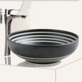 Vasque à Poser Ronde - Céramique Noire rainurée Blanc - 40,5 cm - Chromatic