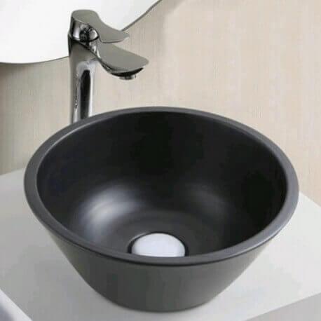 Vasque à Poser Ronde - Céramique Noire - 29 cm – ArDeco | Rue du Bain