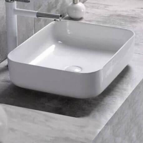 vasque c ramique blanche nordik vasque poser carr e design. Black Bedroom Furniture Sets. Home Design Ideas