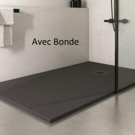 Receveur de Douche extra plat Rectangulaire bonde carré- Solid Surface Anthracite - Minéral