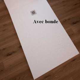 Receveur de Douche extra plat Rectangulaire bonde carré - Solid Surface Blanc - Minéral