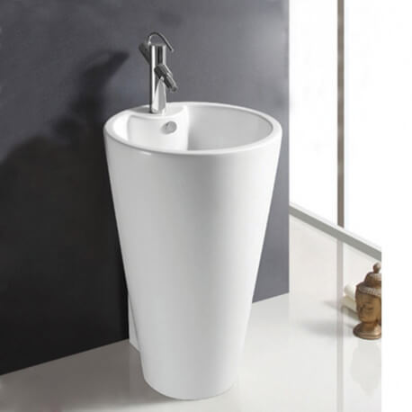 Lavabo Totem Rond - Céramique Blanc - 53x81 cm - Star