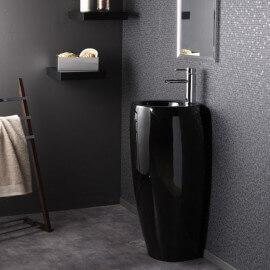 Lave Main Totem Rond - Céramique Noir - 39x85 cm - Ove