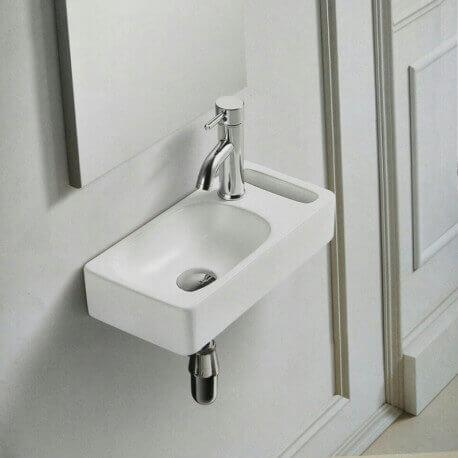 Lave main Rectangulaire Droite avec Porte serviette - Céramique Blanc - 44x22 cm - Pratic