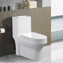 WC à Poser Monobloc avec Lave main intégré - Céramique Blanc - 39x68 cm - Creativ | Rue du Bain