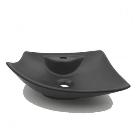 Vasque à poser noire céramique feuille avec plage robinetterie | Rue du Bain