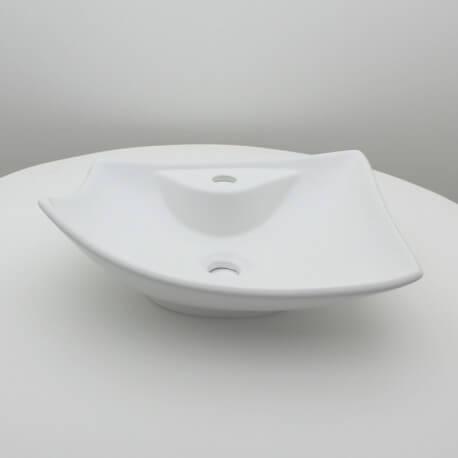 Vasque à poser céramique Feuille blanc mat | Rue du Bain