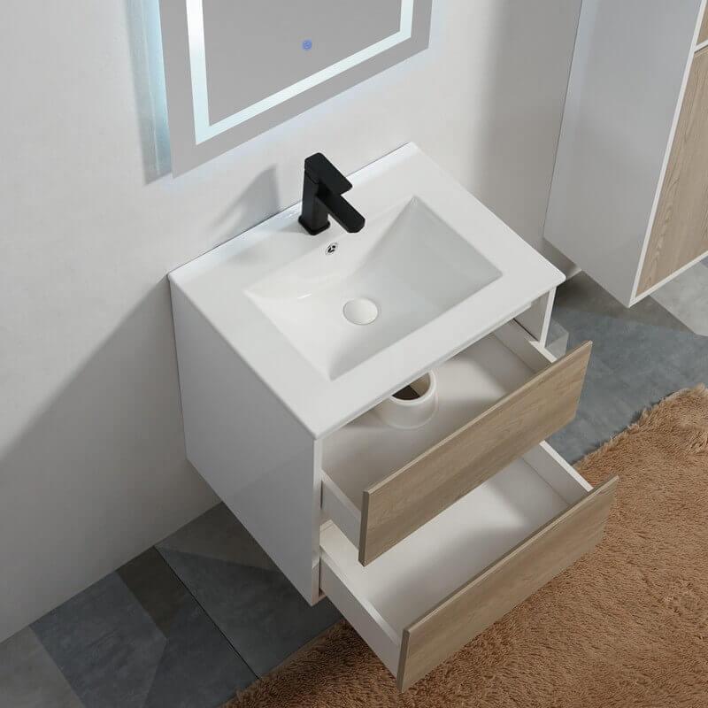 Pack meuble vasque 2 tiroirs et miroir led 60 cm rue du bain - Meuble 2 vasques salle de bain ...