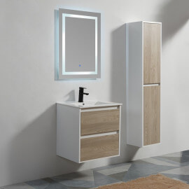 Meuble De Salle De Bain 2 Tiroirs   MDF 19 Mm   Blanc Et Chêne Gris   Vasque    Miroir LED   60x46 Cm   Scandinave