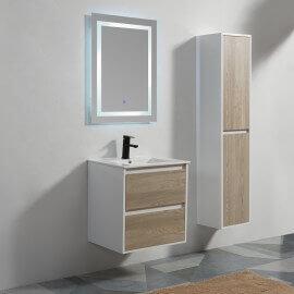 Meuble de salle de bain 2 Tiroirs - MDF 19 mm - Blanc et Chêne - Vasque - Miroir LED - 60x46 cm - Scandinave