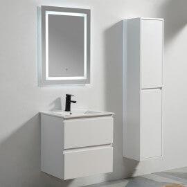Meuble de salle de bain 2 Tiroirs - MDF 19 mm - Blanc - Vasque - Miroir LED - 60x46 cm - City