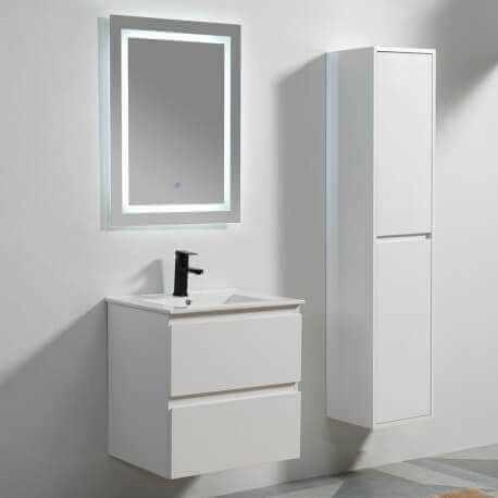 Meuble suspendu laqué blanc, Miroir et vasque - Salle de bain moderne