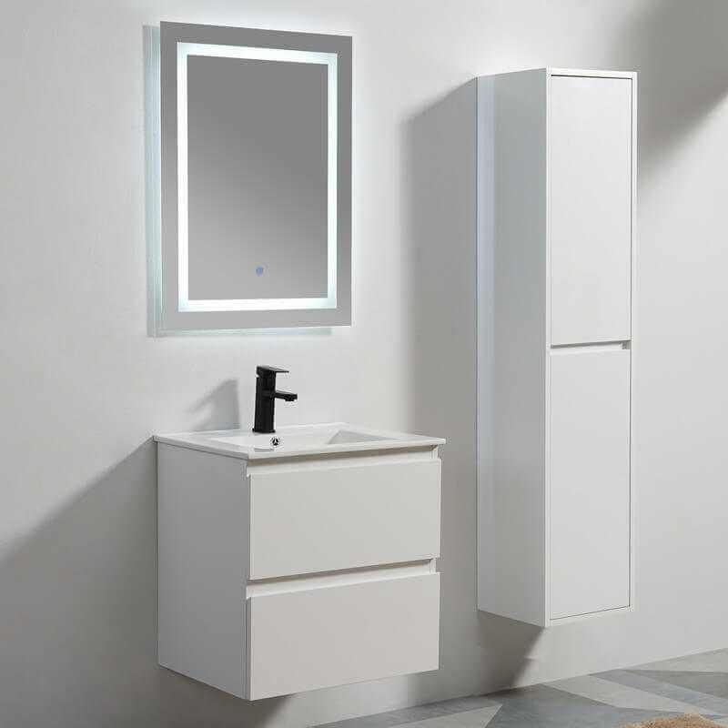 Meuble suspendu laqu blanc miroir et vasque salle de - Meuble salle de bain mdf ...