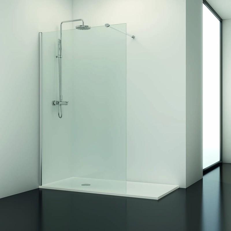 Paroi de douche fixe 140x195 cm verre transparent 6 mm line - Paroi de douche fixe 140 ...