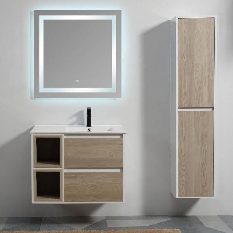 Meuble suspendu bois scandinave meuble sdb simple vasque - Sechoir salle de bain mural ...