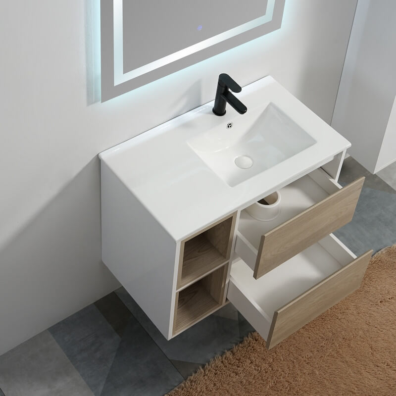 Pack Meuble Scandinave 80 Vasque Tiroirs Niches Miroir Rue Du Bain