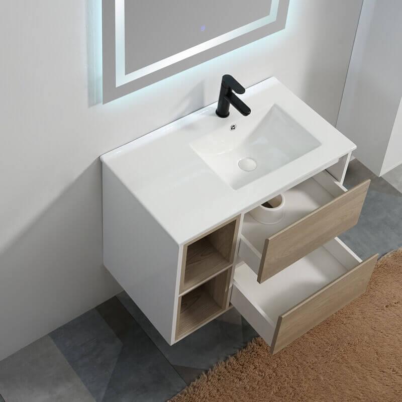 meuble suspendu bois blanc laqu scandinave simple vasque. Black Bedroom Furniture Sets. Home Design Ideas