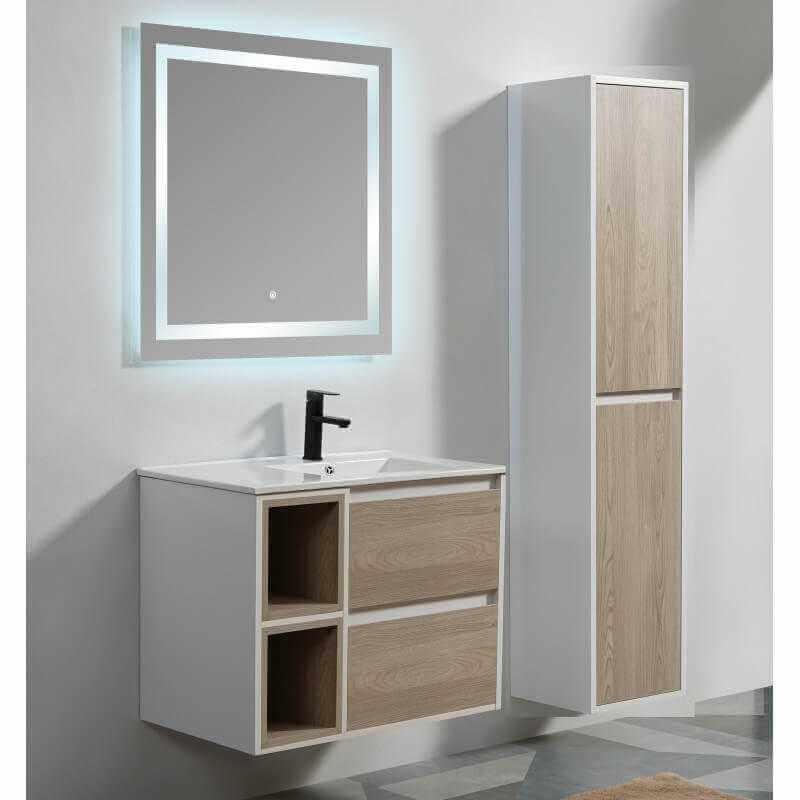 Meuble suspendu bois blanc laqu scandinave simple vasque - Meuble de rangement salle de bain ...