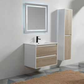 Meuble de salle de bain 2 Tiroirs - MDF 19 mm - Blanc et Chêne Gris - Vasque - Miroir LED - 80x46 cm - Scandinave