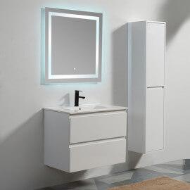 Meuble de salle de bain 2 tiroirs + vasque et miroir Led 80x46 cm, Blanc, Mia