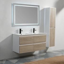 Meuble De Salle De Bain 4 Tiroirs   MDF 19 Mm   Blanc Et Chêne Gris   Double  Vasque   Miroir LED   120x46 Cm   Scandinave