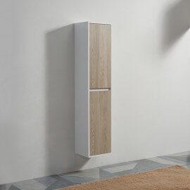 Colonne de salle de bain 2 Portes - MDF 19 mm - Blanc et Chêne - 160x30 cm - Scandinave