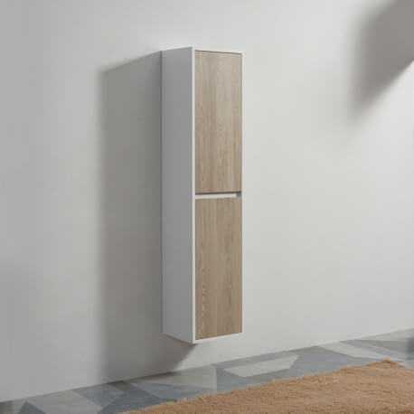 Colonne de salle de bain 2 Portes - Blanc et Chêne Gris - 160x30 cm -  Scandinave