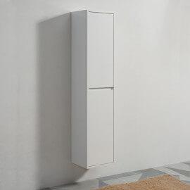 Colonne de salle de bain, 2 portes, 160x30 cm, Blanc, Mia
