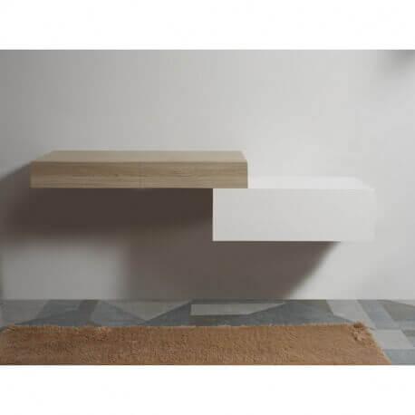 Meuble de Rangement 1 Tiroir - Blanc - 90x50 cm - City