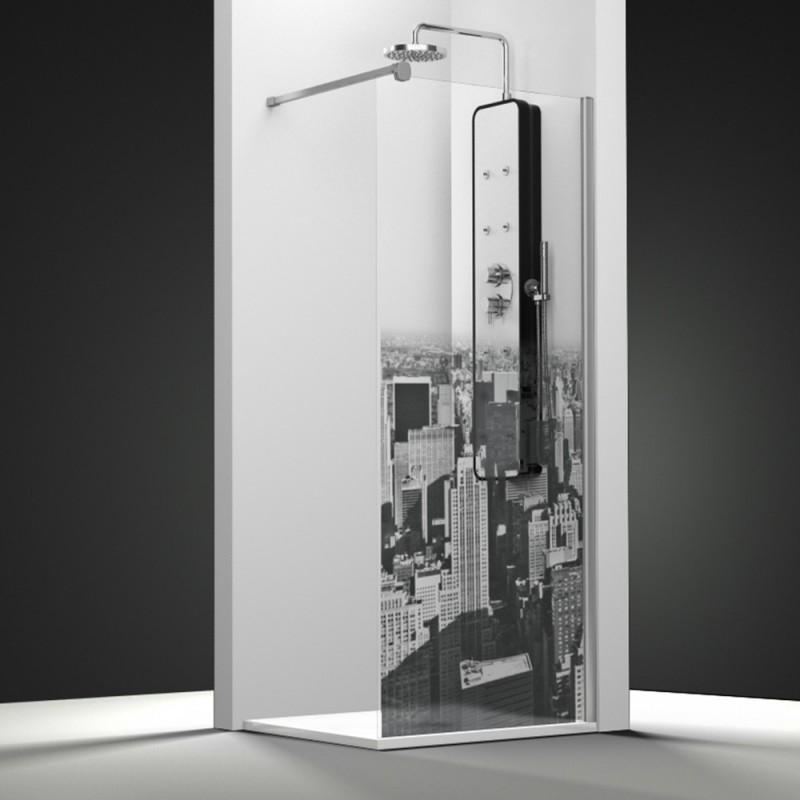 paroi de douche fixe 120x195 cm verre s rigraphi noir dark. Black Bedroom Furniture Sets. Home Design Ideas