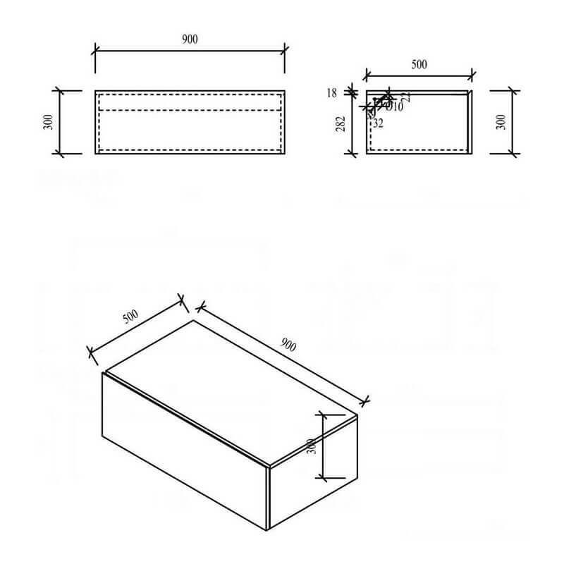 meuble suspendu laqu blanc city tiroir de rangement rue du bain. Black Bedroom Furniture Sets. Home Design Ideas