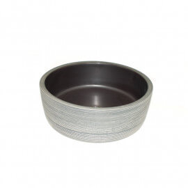 Vasque à Poser Ronde - Céramique rainurée Gris et Blanc - 40 cm – Epura