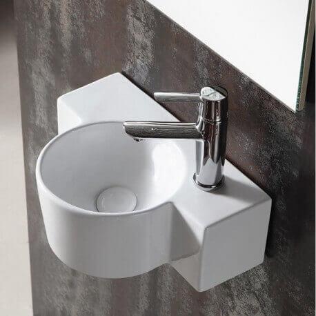 Lave main Asymétrique Droite - Céramique blanc - 40x28 cm - Pool | Rue du Bain