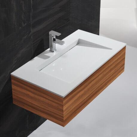 Lavabo Suspendu Rectangulaire - Solid surface Blanc Mat - 90x50 cm - Single   Rue du Bain