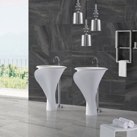 Lavabo Totem Ovale - Solid surface - 67x90 cm - Arum