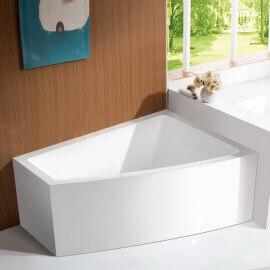 Baignoire d'Angle Bain Douche Asymétrique - Acrylique Blanc -160x120 cm - Kingston