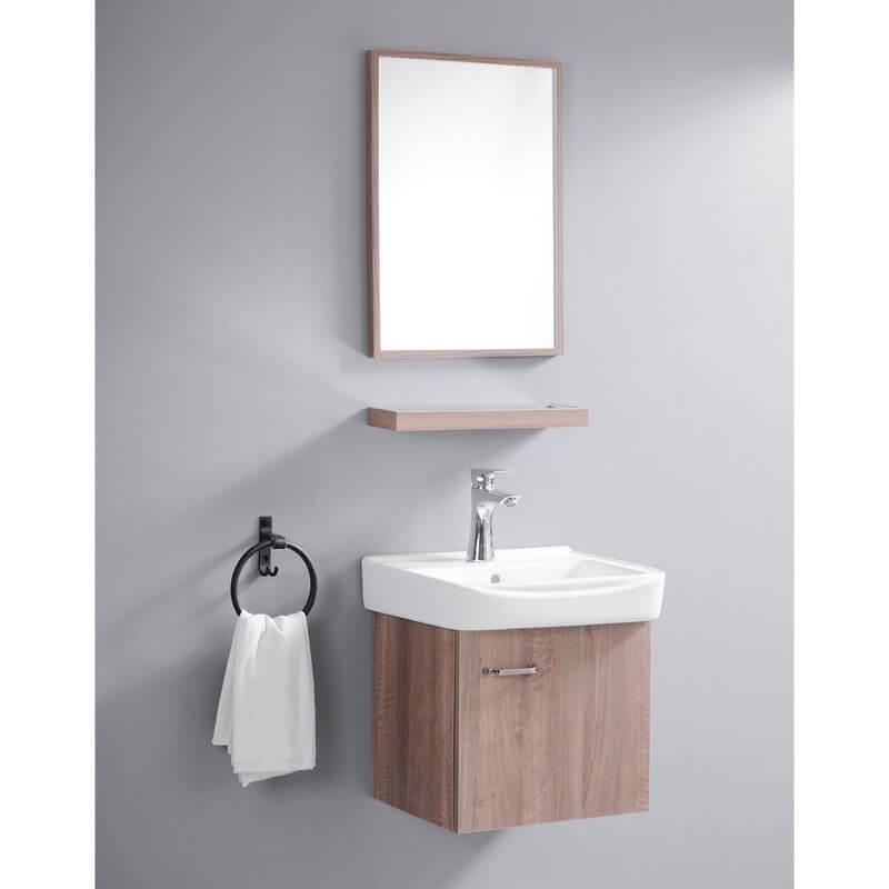 Meuble suspendu couleur bois daily meuble simple vasque - Petit meuble colonne salle de bain ...