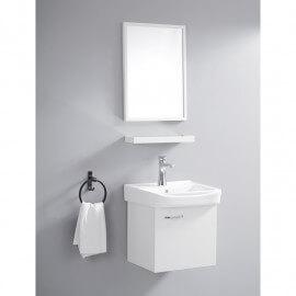 Ensemble Petit Meuble de Salle de Bain - Blanc - 44x36 cm - Daily