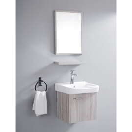 Ensemble Petit Meuble de Salle de Bain - Cérusé Blanc - 44x36 cm - Daily